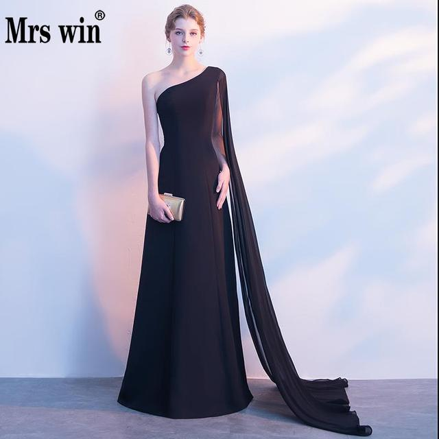 3dff81a4ef US $75.9 |One Shoulder Slim Formal Occasion Dresses Black Elegant  Sleeveless Long Dress For Beach Wedding And Party Evening Gowns C-in  Evening Dresses ...