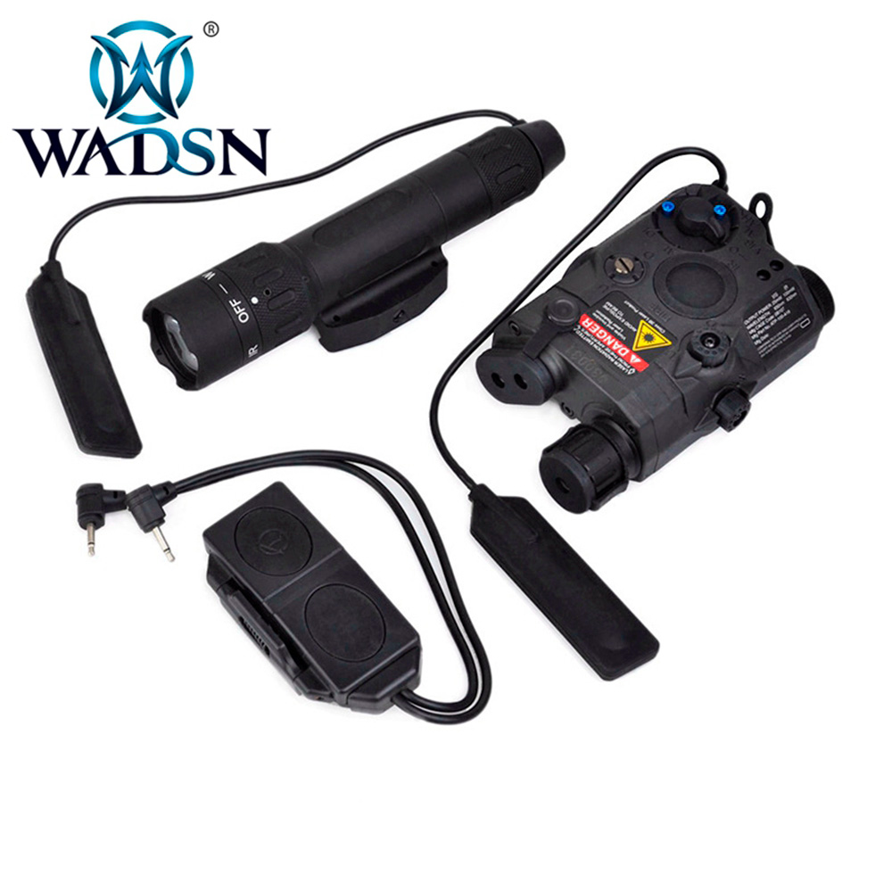 WADSN Weapons Airsoft LED light Tactical kit includes LA 5/PEQ 15 Red IR Laser & WMX200 Flashlight &Double Remote Control WEX418-in Weapon Lights from Sports & Entertainment