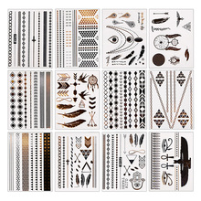 T2N2 Fashion 12 Pcs Metallic Bronzing Retro Fashion Temporary Tattoo Body Makeup Sticker