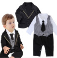 Autumn Kids Toddler Boys Long sleeve Bodysuits romper + jacket Clothing sets black Newborn bebe Baby Boy jumpsuit Clothes DY089B