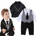 Autumn Kids Toddler Boys Long sleeve Bodysuits romper + jacket Clothing sets black Newborn bebe Baby Boy jumpsuit Clothes DY089B