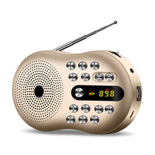 Mini Portable Radio FM Stereo Speaker Music Player Support TF Card LED High-Definition Display Digital Radio Red Gold цена и фото