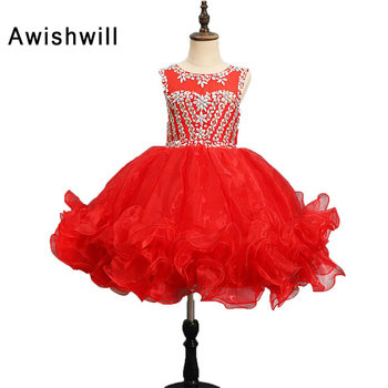 Real Pictures Red Flower Girl Dresses Ball Gown Beaded Organza Pageant Dresses Communion Gown for Wedding Custom Made Vestido