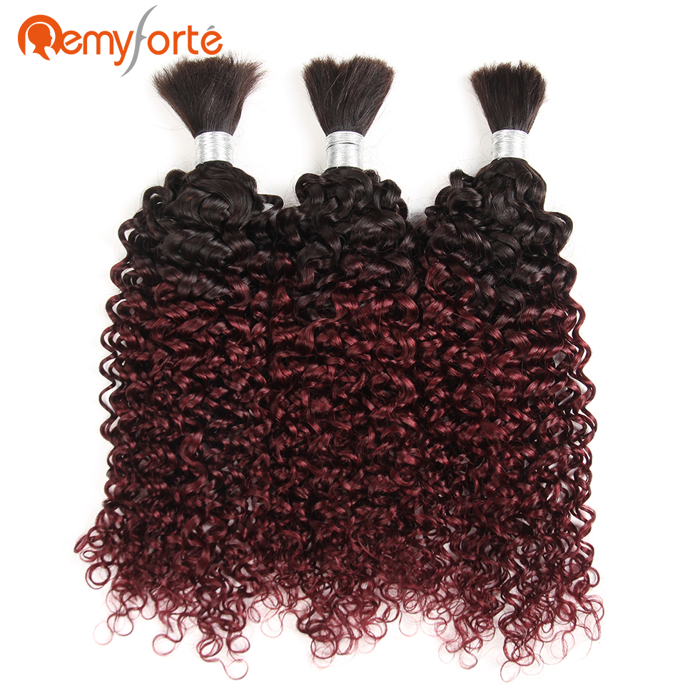 Remy Forte Hair Ombre 99J Braiding Human Hair Bulk Brazilian Curly 3 Bundles No Weft Crochet Braids Human Hair Free Shipping