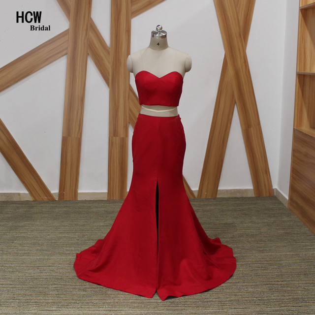 Sexy Red Long Prom Dresses Strapless Front