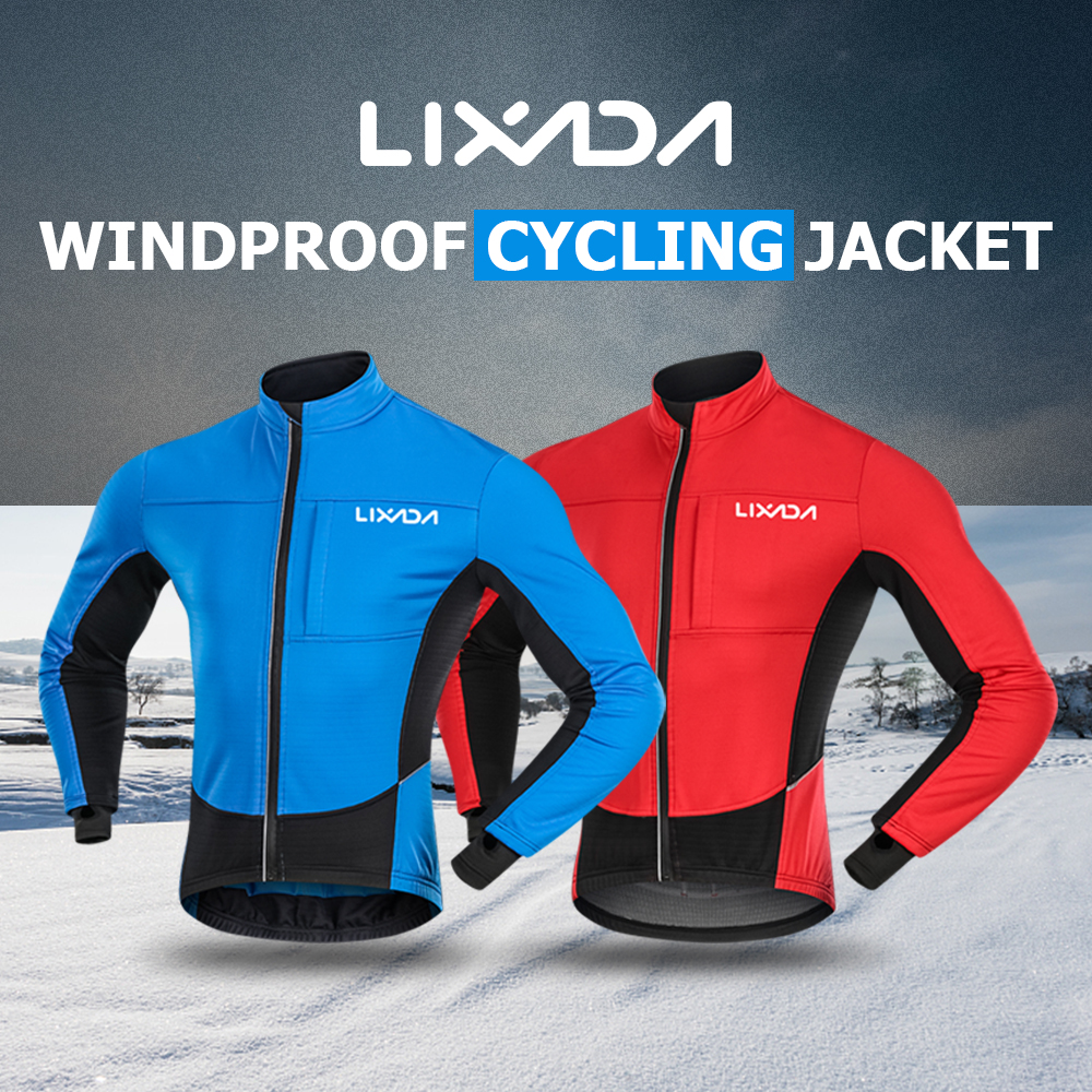 Winter Thermal Fleece Cycling Jacket Windproof Cycling Clothing Coat Bike Riding