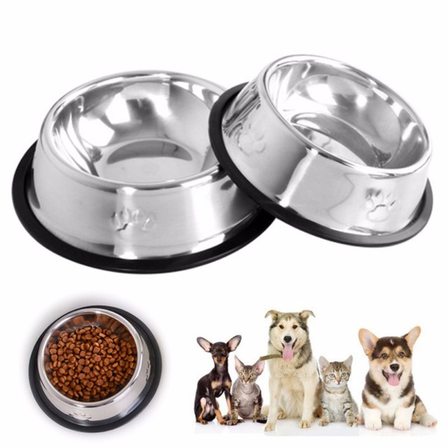 Dog Cat Bowls Stainless Steel Pet Feeding Water Bowls with Footprint Outdoor Travel Feeder Anti-Skid Food Water Eating Dish#