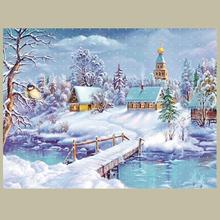 Diamond Embroidery Scenery Snow DIY Diamond Painting White Trees And Houses In Winter Rhinestone Painting Home Decoration