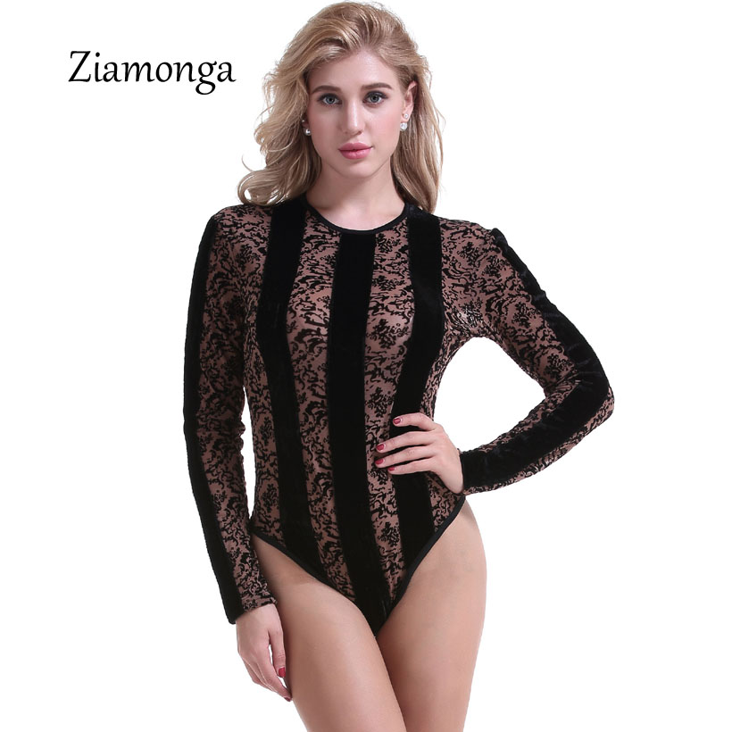 4baced541fc Detail Feedback Questions about Ziamonga Sexy Lace Bodysuit Women Long  Sleeve See Through Sheer Leopard Print Jumpsuit Leotard Romper Body Femme  Suit ...