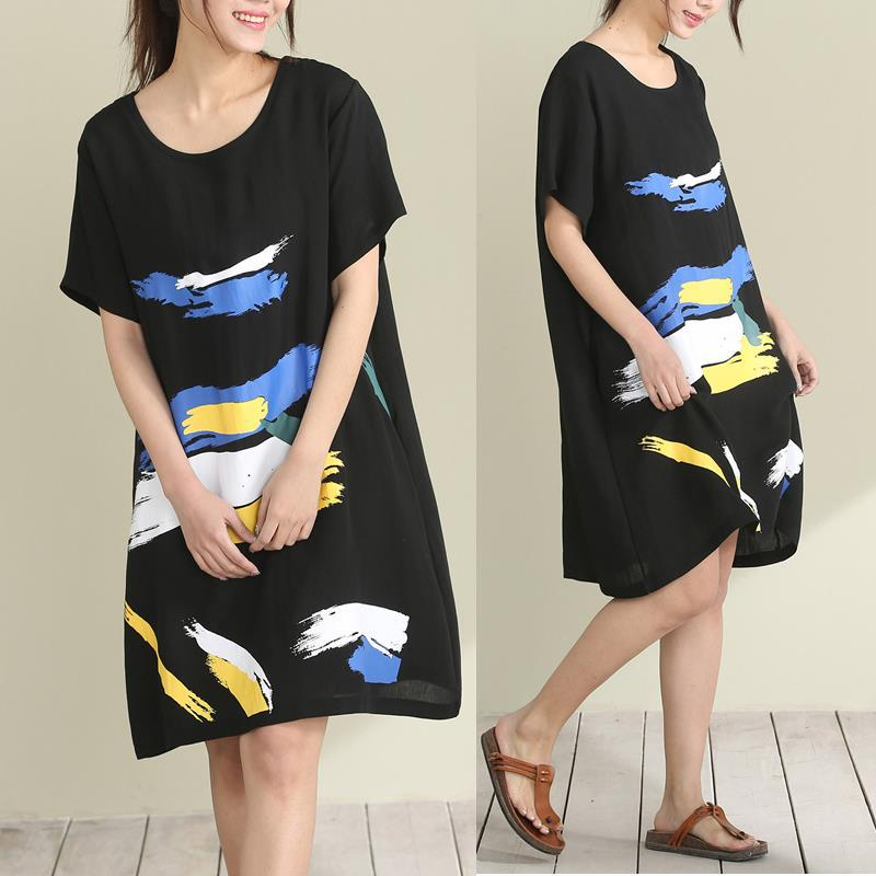 New Summer 2017 Pregnant Women Dress Loose Big Yards Ice Silk Printed Dresses with Short Sleeves Maternity Clothes CE698