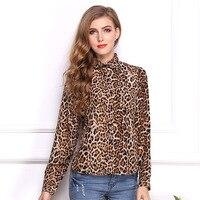 Spring Autumn New Women Wild Leopard Print Chiffon Blouse Lady Sexy Long Sleeve Tops Shirt Loose Lapel neck Leopard Slim Blouse