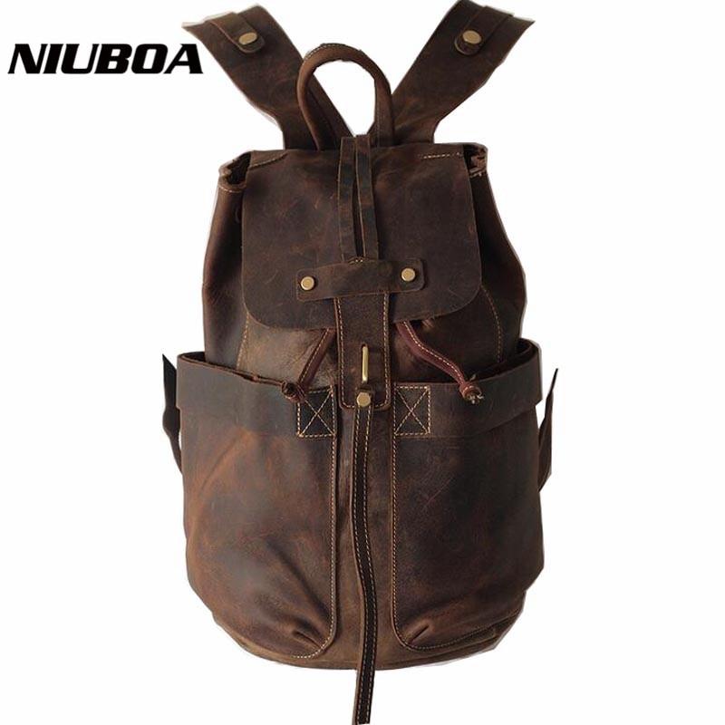 NIUBOA Genuine Leather Backpack 100 Cowhide Backpacks Top Hot High Classic Casual Leather Backpack School Bags Woman Man mochila niuboa 100