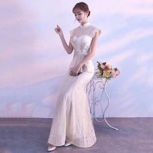 Image 3 - חדש הכלה מסיבת Cheongsam מזרחי נשים שמלת אופנה בסגנון סיני אלגנטי ארוך Qipao יוקרה חתונה גלימת Vestido S XXL