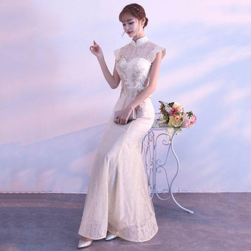 Image 3 - New Bride Party Cheongsam Oriental Womens Dress Fashion Chinese  Style Elegant Long Qipao Luxury Wedding Robe Vestido S XXLDresses   -