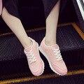 Женщина повседневная обувь дышащая обувь zapatillas mujer 2017 горячие моды плоские с женской обуви теннис мода стиль сетки обувь женщины