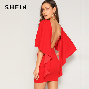 Image 1 - SHEIN Sexy Open Back Cloak Sleeve Summer Mini Dress Women Glamorous Round Neck Slim Fit Solid Night Out Party Dress