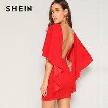 SHEIN Sexy Open Back Mantel Hülse Sommer Mini Kleid Frauen Glamorous Rundhals Slim Fit Solide Nacht Party Kleid