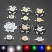 504eb8c2b 10 100 unids 1 W 3 W cálido Blanco azul Azul Real rojo verde amarillo 660nm  UV violeta RGB de alta potencia LED Chip luz con PCB.