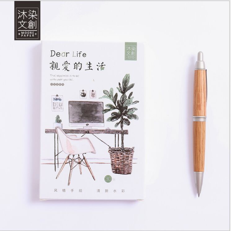 30pcs/pack Happy Life Green cactus plants furnishing Greeting Card Postcard Birthday Card Message Card Letter Envelope Gift Card greeting card 3d pop up cards love tree heart valentine lover happy birthday greeting card