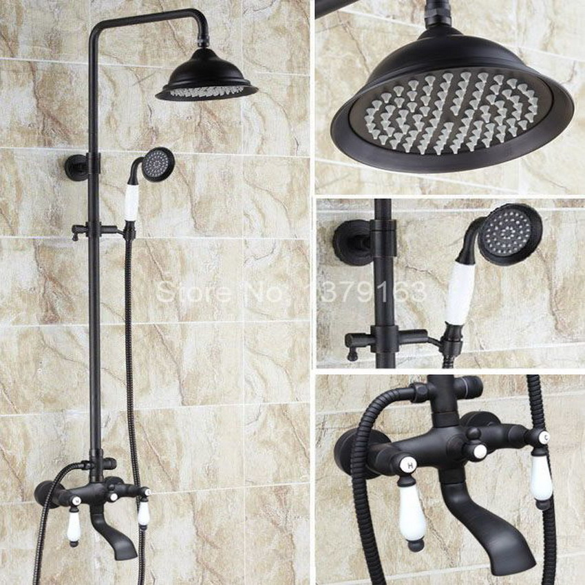 Black Oil Rubbed Brass Dual Ceramics Handles Bathroom Rain Shower Faucet Set + Rainfall Shower Head + Handheld Shower ahg144
