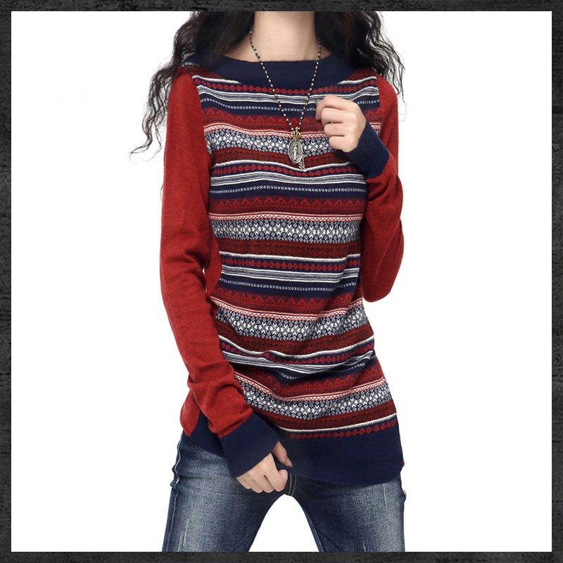 Wanita Crewneck Long Artkas Style Knitted Cashmere Sweaters Dan Pullovers Wanita Autumn Winter Trendy Jumpers Panas Tarik Feme