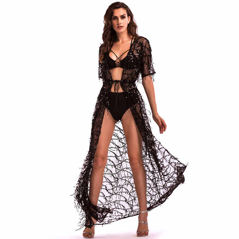 5738504613dda Women Sexy Long Mesh Top Sequin Cardigan Transparent Blouse Kimono Plage  Fringe Tassel Cape Beach Cover