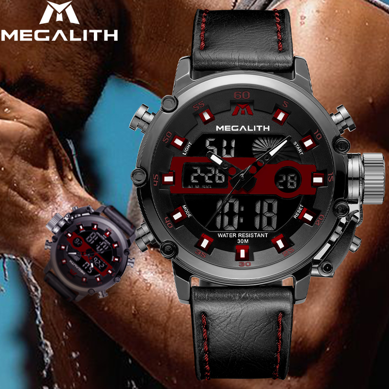 MEGALITH 2019 Sport Chronograph Quartz Multifunction Watches Men Dual Display Waterproof Luminous Wrist Watches For Mens ClockMEGALITH 2019 Sport Chronograph Quartz Multifunction Watches Men Dual Display Waterproof Luminous Wrist Watches For Mens Clock