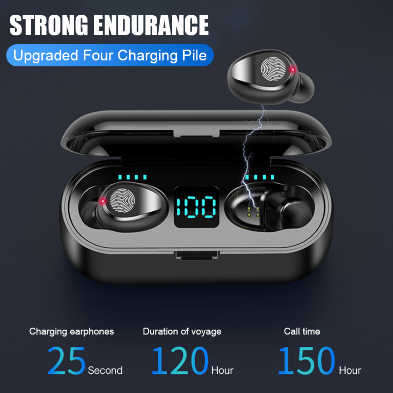 H&A Bluetooth V5.0 Earphone Wireless Earphones Stereo Sport Wireless Headphones Earbuds Headset 2000 MAh LED Power Bank Holder(China)