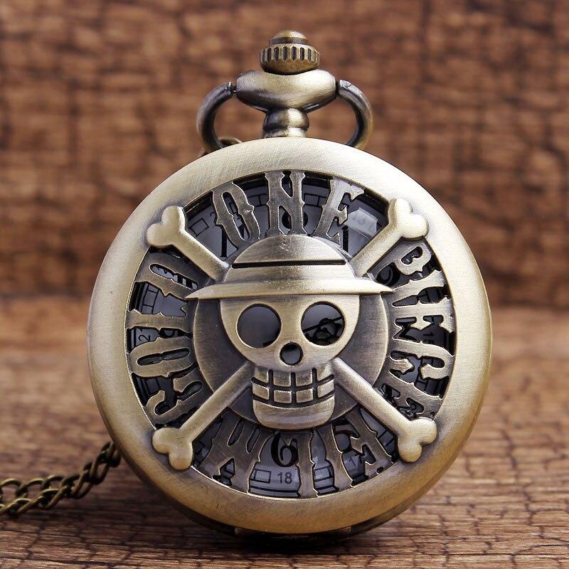 Nova Chegada Fresco Do Crânio Moda Oco Mens Quartz Relógios de Bolso Pingente de Colar Com Corrente Bronze Pirata Menino Homens Mulheres Presente
