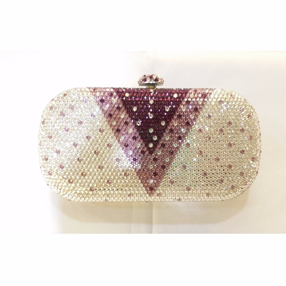 ФОТО 8016V-purple Crystal oval Lady fashion Bridal Metal Evening purse clutch bag case handbag box
