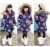 Meninas jaqueta de inverno Criança Meninas para baixo Parkas Casaco Floral Impresso gola de Pele Com Capuz Crianças Jaquetas Meninas Outerwear Casacos