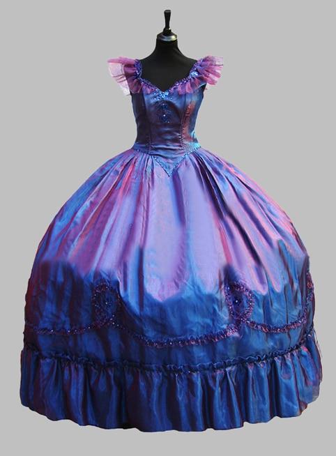 Luxusní modrá nový design viktoriánské plesové šaty Benátský - Dámské oblečení