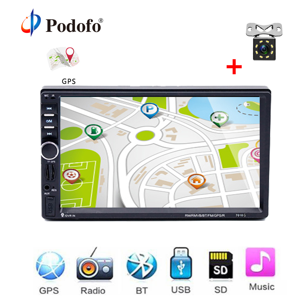Podofo 7018G Autoradio 2 Din Car Radio Multimedia Player+GPS Navigation 7''HD Touch Screen MP3 MP5 Bluetooth Audio Stereo Radios