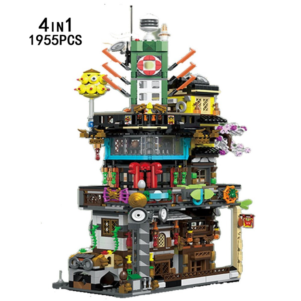 New Funny Ninja City Go Moc Diy 4in1 Building Block Fisherman Robot Kai Lloyd Jay Fisher Divel Figures Bricks Toys Collection ...