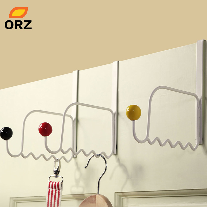 ORZ 3PCS Over Door Hanger Hook With Ceramic Bead Hanging Towel Rack Clothing Hat Bag Holder Hooks Bethroom Storage Organizer