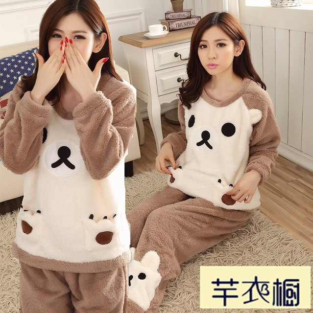 winter coral fleece flannel pajamas thickened lady warm clothing to wear long sleeved Home Furnishing suit for students