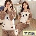 Inverno coral fleece pijama de flanela engrossado senhora roupas quentes para vestir manga comprida Início Mobiliário terno para estudantes