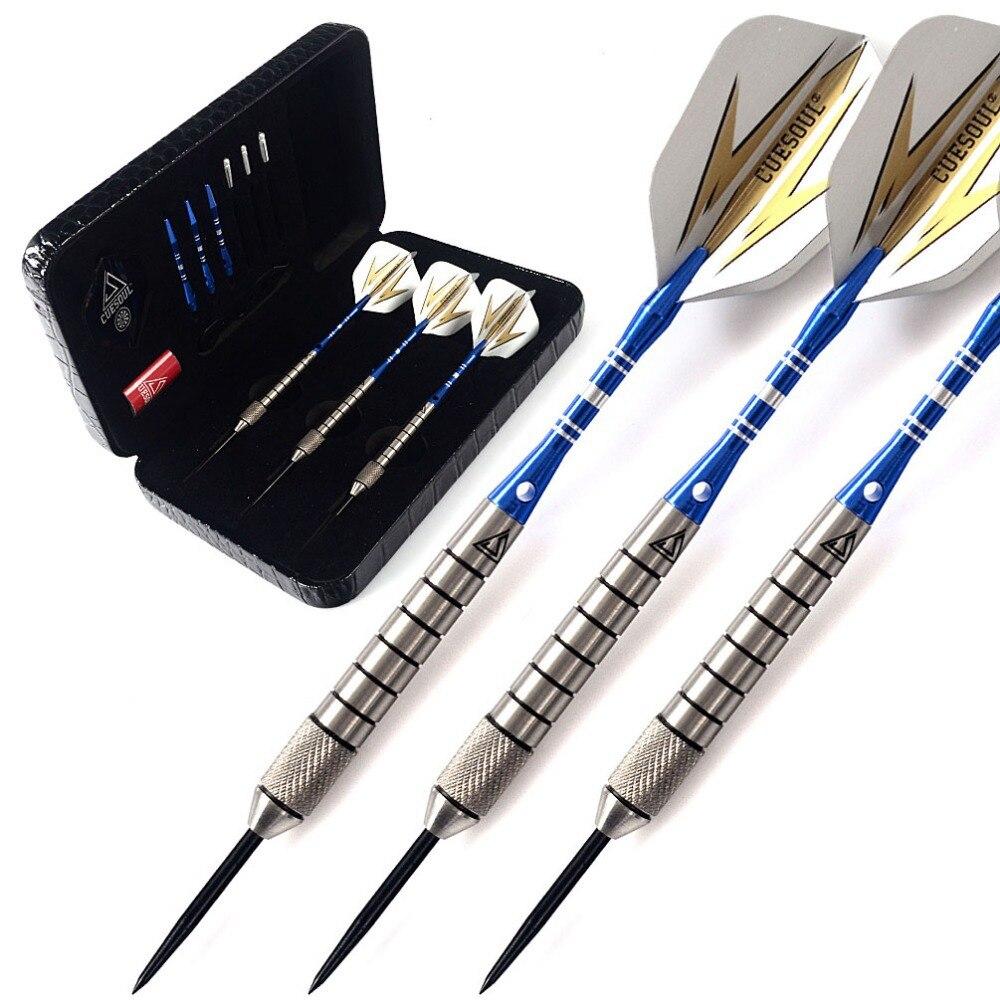 CUESOUL 28 Grams Tungsten Steel Tip Darts Set 90% Tungsten With Luxury Black Dart Case,Blue Dart Shaft cuesoul 3pcs tungsten darts steel tip darts with 90