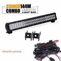 23 inch 144W combo led light bar 12 volt led truck lights ip67 off road work light bar for car