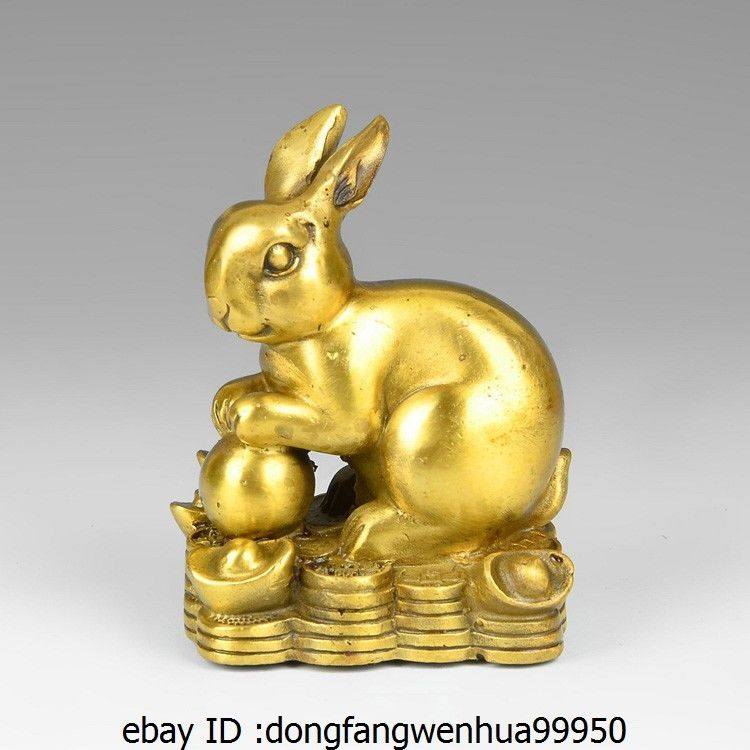 China Brass Copper Auspicious Yuanbao Wealth Lucky Rabbit Hare Decoration Statue  China Brass Copper Auspicious Yuanbao Wealth Lucky Rabbit Hare Decoration Statue