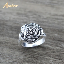 Anslow Brand New Wholesale Trendy Jewelry Top Quality Special Rose Flowers For Women Lady Finger Ring Vintage Retro Style Gift