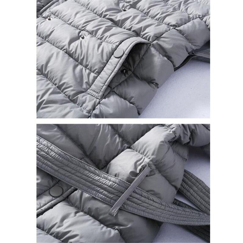 Image 5 - Sanishroly 2018 duvet de canard blanc hauts femmes ceintures Long  Ultra léger duvet manteau Parka femme vêtements dextérieur à capuche  grande taille 288Doudounes longues