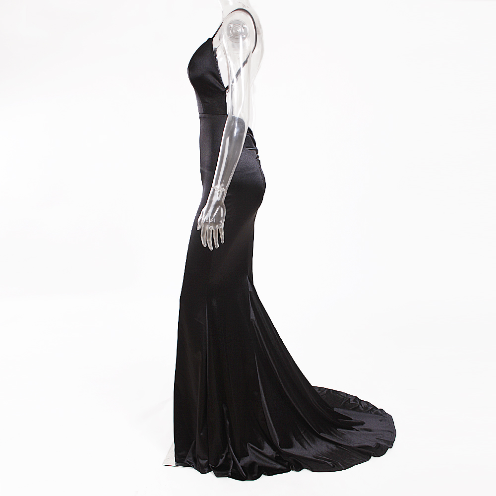 Deep V-Neck Burgundy Satin Mermaid Open Back Long Evening Dress 38