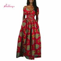 HUHHRRY Dashiki African Print Dresses For Women 2019 New DIY Lace up Robe Femme Africaine Irregular Elastic High Waist Clothing