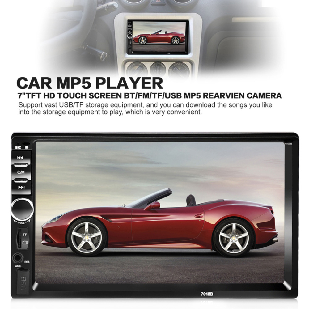 New 7018B 7 inch Bluetooth Audio Touch Screen Car Radio Car Audio Stereo Car MP3 MP5 Player USB Support for SD/MMC Drop Shipping 7018b universal 7 inch 2 din car audio stereo player touch screen car video mp5 player tf sd mmc usb fm radio hands free call