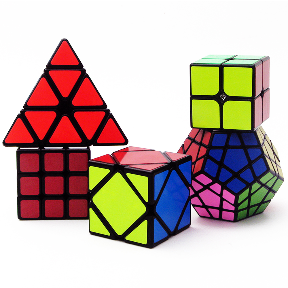 5 PCS/set ZCUBE' Magic Cubes 3*3 2*2 2x2 3x3 Skew Megaminx 3 Layers Triangle Puzzle Neo Speed Cubes zcube set 4pcs box carbon fiber neo cube dodecahedron 2x2 3x3 4x4 5x5 skew cube speed puzzle toy gift