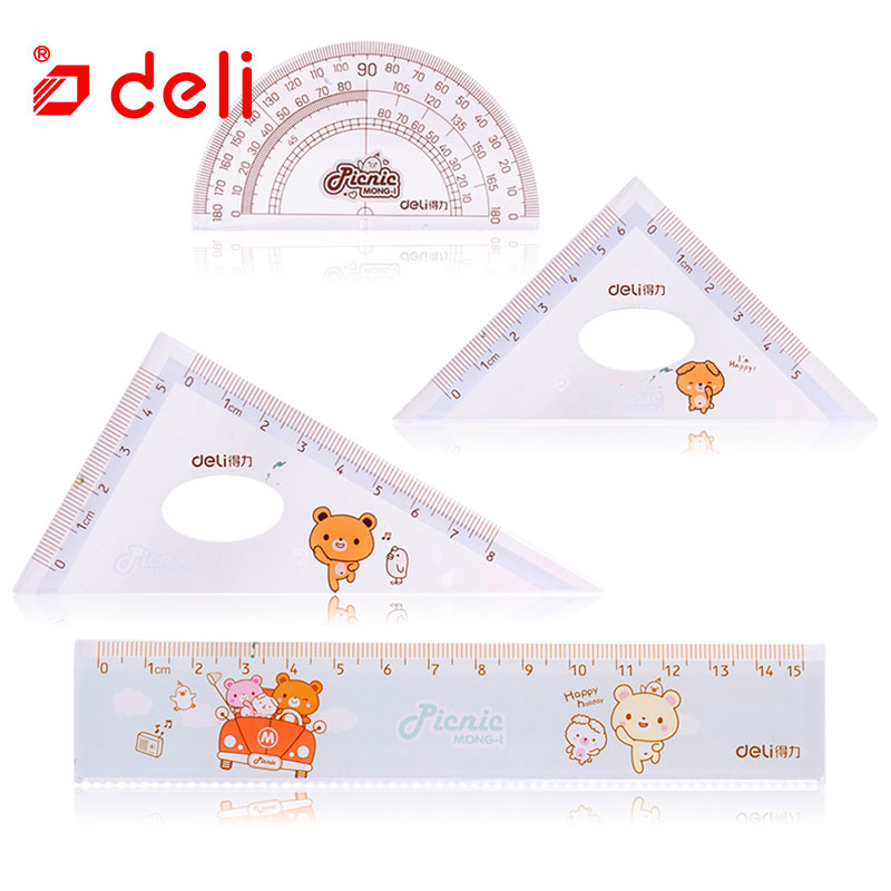 Deli New Ruler Protractor Square Triangle Set Students Drawing Measuring Ruler Maths Geometry Ruler Set Office School Supplies