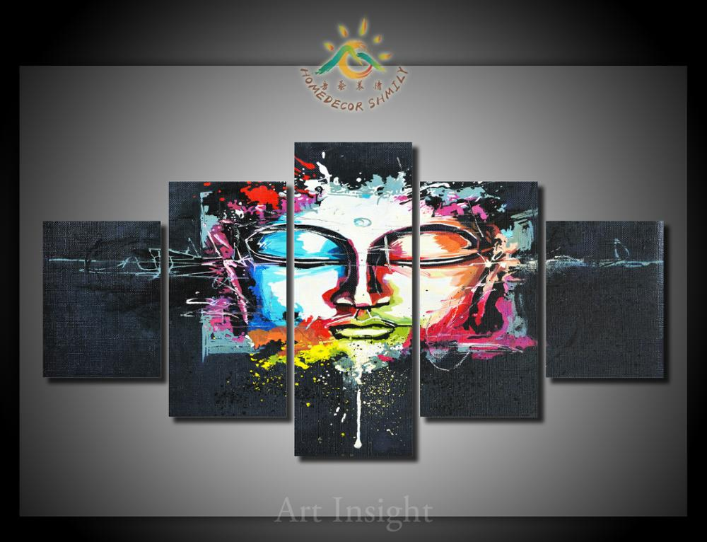 5 Pieces/set buddha face Canvas Painting HD Printed on canvas Painting for living room Wall Art Picture for Living Room