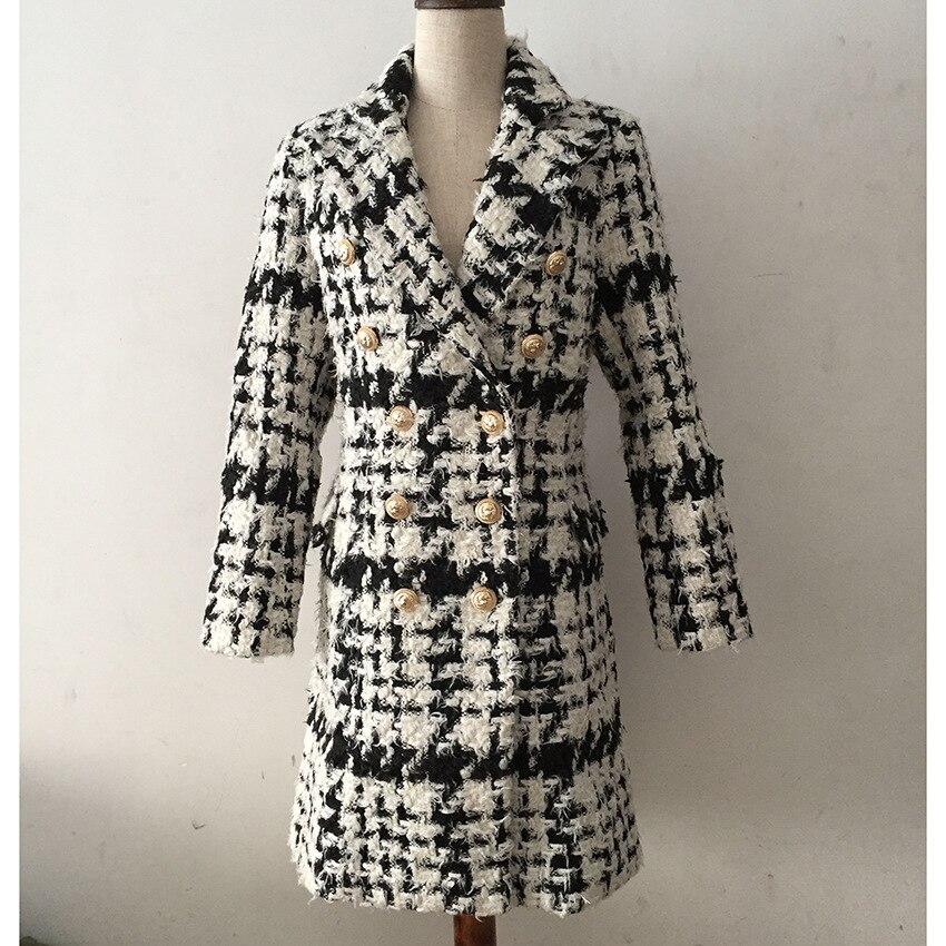 Mélanges Femmes Paletots Long Plaid Manteau Américaine Hiver Mode À Laine Européenne Boutons Et Double Boutonnage KcF13JTl
