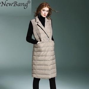 Image 2 - NewBang Brand Womens Long Vest Ultra Light Down Vests Female Sleeveless Windproof Lightweight Warm Long Waistcoat